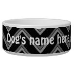 Elegant black and gray chevron pattern dog bowl