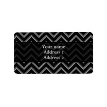 Elegant black and gray chevron pattern label