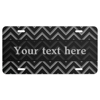Elegant black and gray chevron stripes pattern license plate