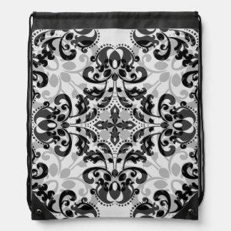 Elegant black and gray damask pattern drawstring bag