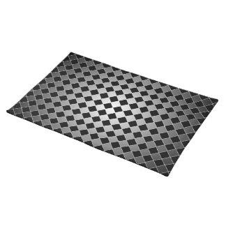 Elegant Black and Gray Diamond Pattern Place Mats