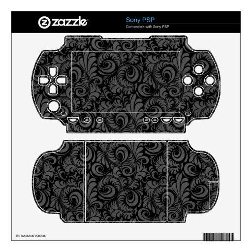 Elegant Black and Gray Floral Pattern PSP Decals