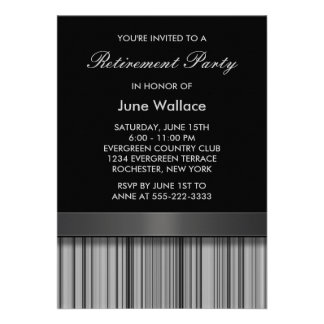 Elegant Black and Gray Stripe Retirement Party Invitations