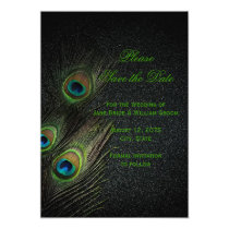Elegant Black and Green Peacock Save the Date Card