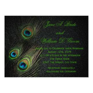 Elegant Black and Green Peacock Wedding Card