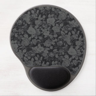 Elegant Black and Grey Floral Print Gel Mouse Pad