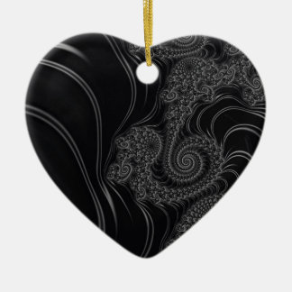 Elegant Black and Grey Fractal Christmas Tree Ornament