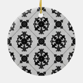 Elegant Black and Grey Medallion  Pattern Ceramic Ornament