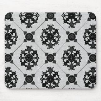 Elegant Black and Grey Medallion  Pattern Mouse Pad