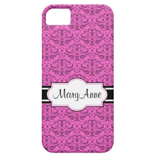 Elegant Black and Hot Pink Calligraphic Damask iPhone SE/5/5s Case