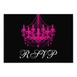Elegant Black and Hot Pink Chandelier RSVP Card Personalized Invitation