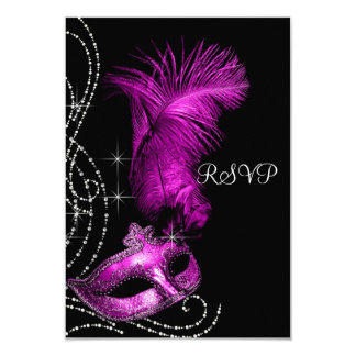 Elegant Black and Hot Pink Masquerade Party RSVP Card