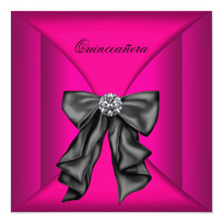 Elegant Black and Hot Pink Qiunceanera Card