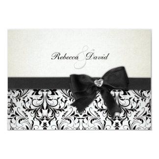 Elegant Black and Ivory Damask with diamond RSVP Card