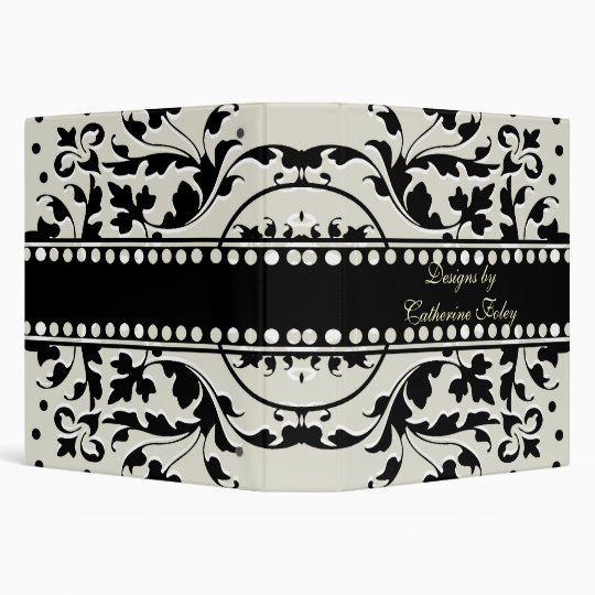 Elegant Black and Ivory Fleur Avery Binder