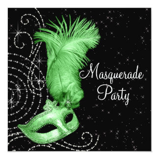 Elegant Black and Lime Green Masquerade Party Card