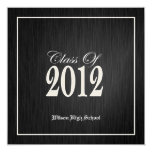 "Elegant Black and Metallic Gold Class of 2012 5.25"" Square Invitation Card"
