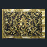 "Elegant Black And Metallic Gold Floral Damasks Placemat<br><div class=""desc"">Shiny metallic gold vintage floral damasks pattern with black background. Gold border.</div>"