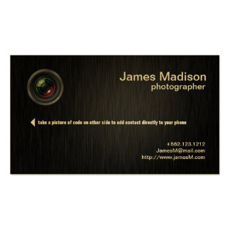 Elegant Black and Metallic Gold Photography Business Card