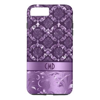 Elegant Black And Metallic Purple Damasks & Lace iPhone 7 Plus Case