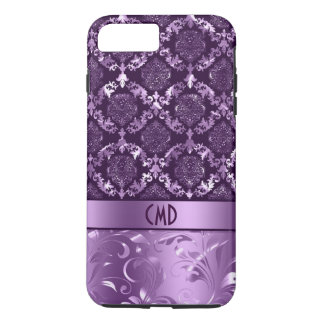 Elegant Black And Metallic Purple Damasks & Lace iPhone 8 Plus/7 Plus Case