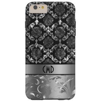 Elegant Black And Metallic Silver Damasks & Lace Tough iPhone 6 Plus Case