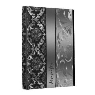 Elegant Black And Metallic Silver Damasks & Lace iPad Folio Cover