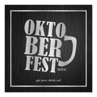 Elegant Black and Metallic Silver Oktoberfest Card