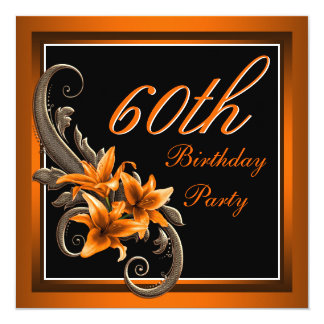 Elegant Black and Orange Tiger Lily Birthday Party 5.25x5.25 Square Paper Invitation Card