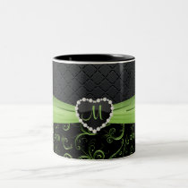 Elegant Black and Peridot Green Floral Monogram Two-Tone Coffee Mug