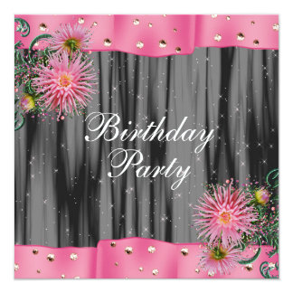 "Elegant Black And Pink Dahlia Birthday Party 5.25"" Square Invitation Card"