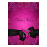 Elegant Black and Pink Fabulous 40th Birthday Personalized Invite
