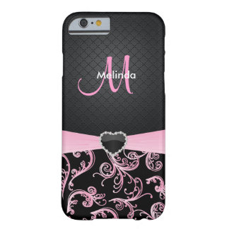 Elegant Black and Pink Floral Pattern Barely There iPhone 6 Case