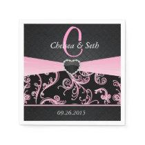 Elegant Black and Pink Floral Pattern Napkin