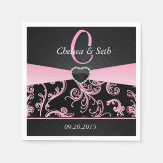 Elegant Black and Pink Floral Pattern Napkin