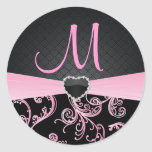 Elegant Black and Pink Floral Pattern Round Stickers