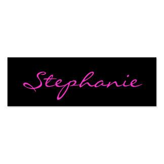 Elegant Black and Pink Script Font Profile Card Business Card Template