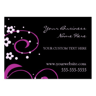 Elegant Black and Pink Swirls Business Cards