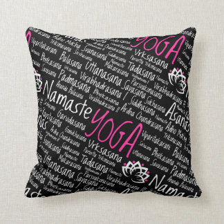 Elegant Black and Pink Yoga Yogi Asanas Design Throw Pillow