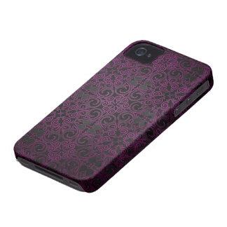 Elegant Black and Purple Fade Damask Swirls iPhone 4 Covers
