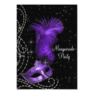 Elegant Black and Purple Masquerade Party Card