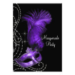Elegant Black and Purple Masquerade Party Announcement