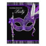 Elegant Black and Purple Masquerade Party Invitation