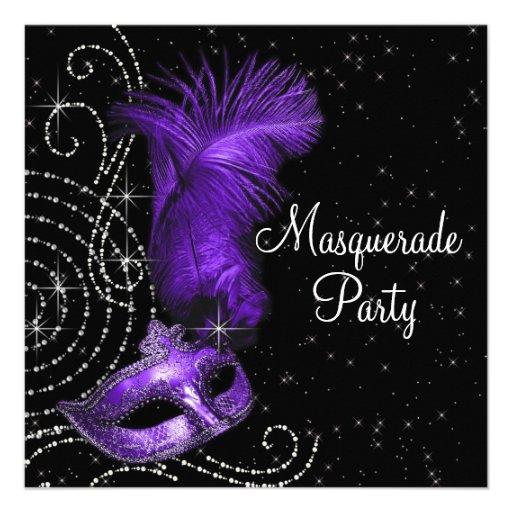 Elegant Black and Purple  Masquerade Party Custom Invitation