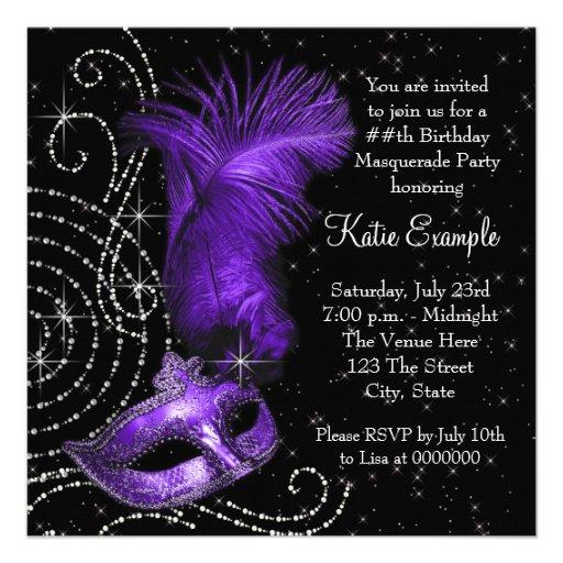 Elegant Black and Purple  Masquerade Party Custom Invitation (back side)