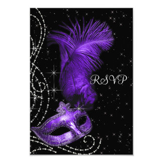 Elegant Black and Purple Masquerade Party RSVP Card