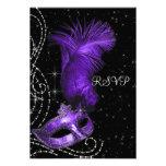 Elegant Black and Purple Masquerade Party RSVP Custom Announcement