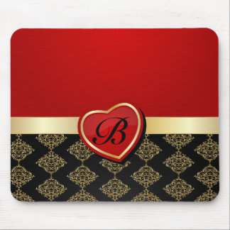 Elegant Black and Red Damask with Heart Mouse Pad