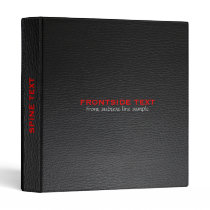 Elegant Black And Red Faux Leather Look 3 Ring Binder