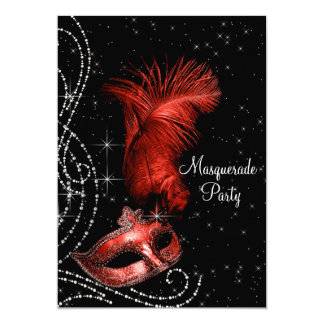Elegant Black and Red Masquerade Party 5x7 Paper Invitation Card